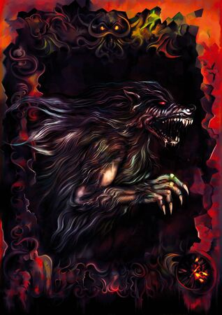 Illustration a dark background with a werewolf inside a sinister frame. Digital painting 写真素材