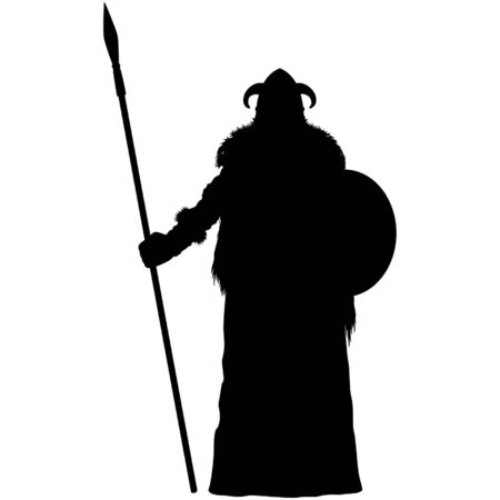 Illustration stylized nordic warrior with a spear and a shield