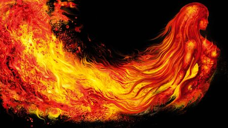 Illustration a fantasy woman spirit in fire waves