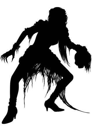 Illustration crawling vampire woman with claws in ragged dress