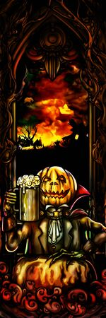 Illustration background with a Pumpkin Head Jack with a mug of beer and an autumn country sunset landscape. Digital painting