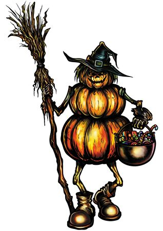 Illustration halloween creature consists of pumpkins with a broom, witches hat and candies