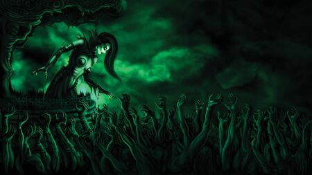 Illustration warlock mistress in gothic outfit above mass of zombie hands. Digital painting