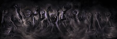 Illustration horror zombie hands in a mist. Digital painting