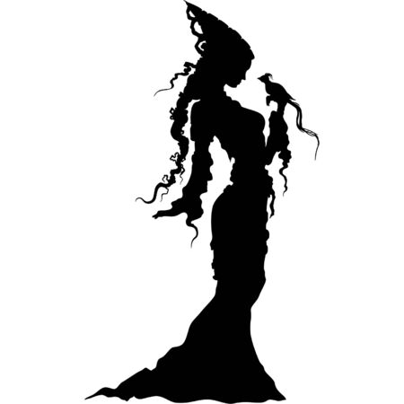 Silhouettes romantic medieval woman with a bird