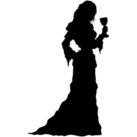 Silhouette medieval girl in long dress with a goblet