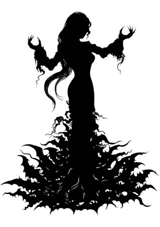 Silhouette of a vampire woman emerging from bats' cloud