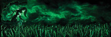 Woman necromancer over zombie horde hands. Digital painting Standard-Bild - 143762413