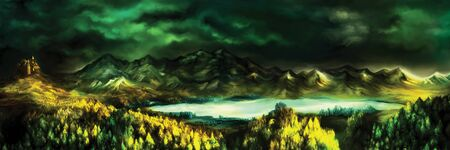 Atmospheric view with a lake, castle, forest, mountains, skies. Digital painting Foto de archivo