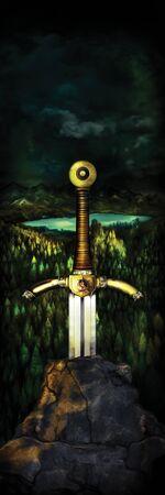 Illustration a sword in a stone, fantasy landscape on a background. King Arthur legend. Digital painting
