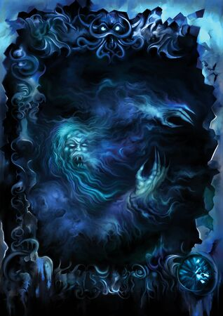 Illustration a dark background with a vampire ghost inside a sinister frame. Digital painting Foto de archivo