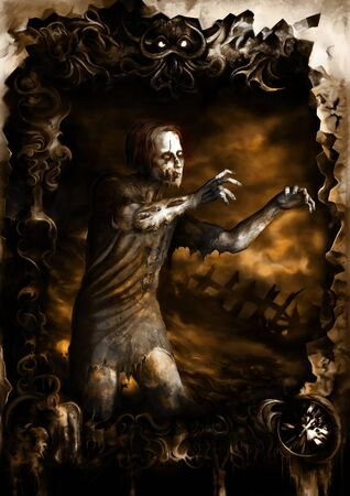 Illustration a dark background with a zombie inside a sinister frame. Digital painting