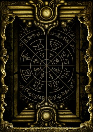 Illustration decorative frame with monsters bodies and mystic symbols.
