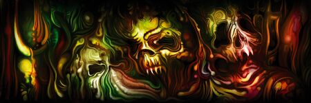 Illustration nightmare background with monster skulls and sinister forms. Digital painting Foto de archivo