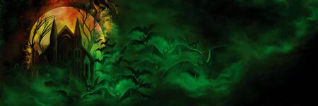 Illustration creepy haunted house with flying bats in the green mist. Digital painting Foto de archivo