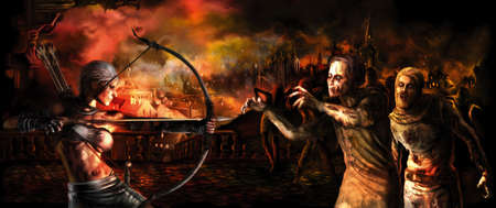 Survival archer girl attacks a zombie crowd. Destroyed burning medieval city in the background. Digital painting Foto de archivo