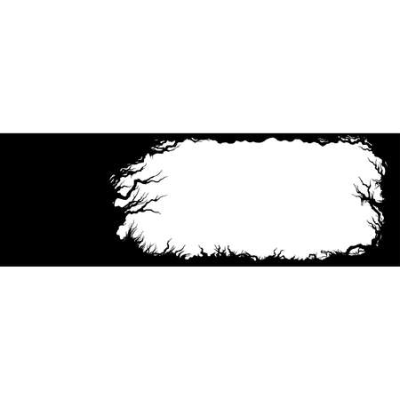 Horizontal banner with trees, grass silhouettes