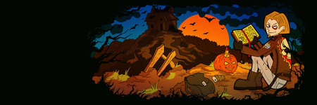 Cartoon Illustration a young man sitting in a forest with a spell book. A pumpkin, a haunted house in the background