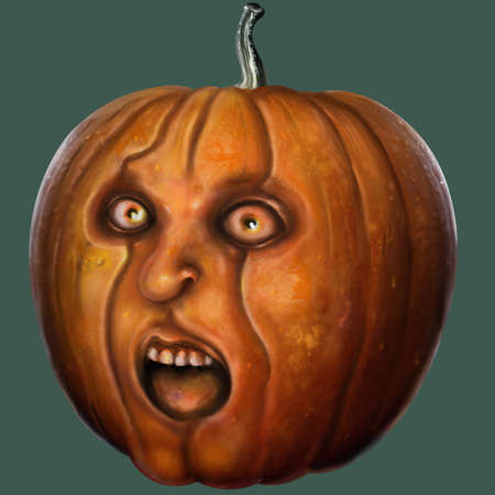 Illustration isolated frightened pumpkin with a human face. Digital painting