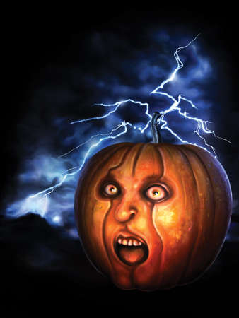Illustration scary pumpkin with a human face, lightning in the background. Stylized as 80's horror movies posters. Digital painting
