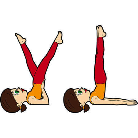 Illustration cartoon girl doing sarvangasana variations Vectores