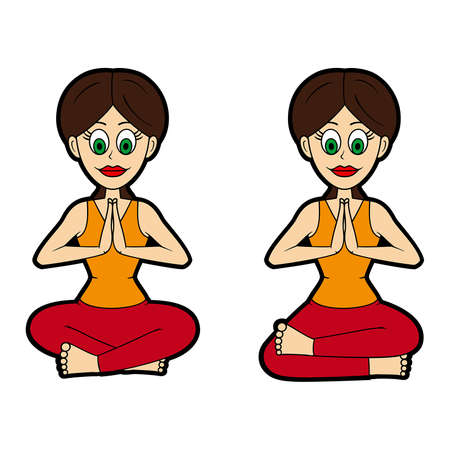 Illustration cartoon girl doing sukhasana and agnistambhasana Vectores