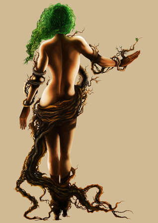 Illustration stylized woman in branches and roots outfit. Digital painting Foto de archivo