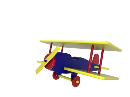 A colorful wooden toy plane