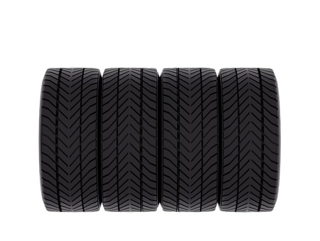 tire tread: Four tires, closeup view showing tread