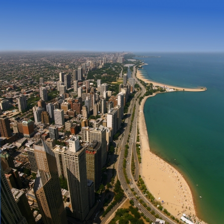 hancock building: Aerial view of Oak Street Beach, Chicago, IL Editorial