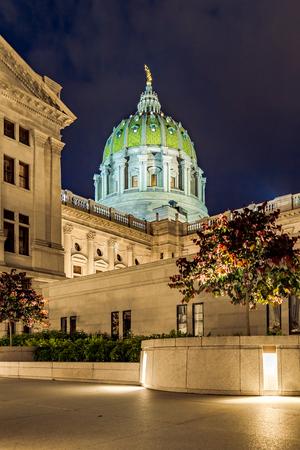 Harrisburg Capitol at Dusk