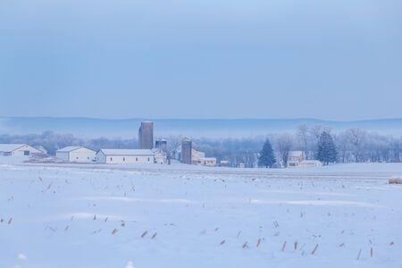 Farm in the Snow Stockfoto