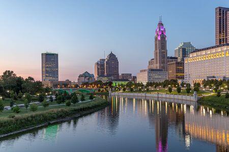 Columbus Ohio skyline and Scioto RIver at Blue Hour