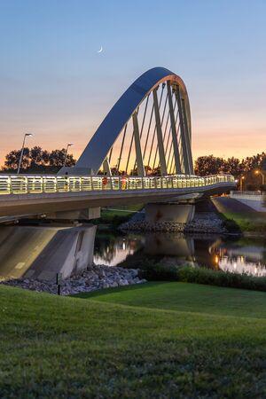 Bridge and Crescent Moon at Sunset Columbus Ohio