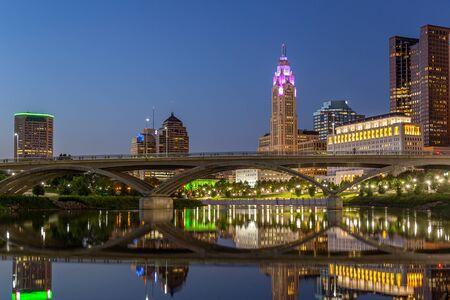 Columbus Skyline Reflections at Night