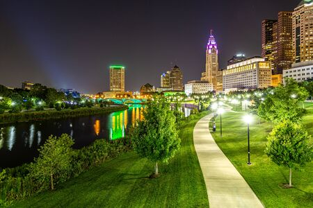 Columbus skyline reflected in the Scioto River