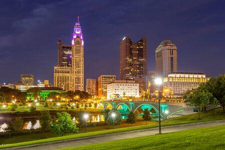 CIty Skyline at Blue Hour in Columbus Ohio Stock Photo