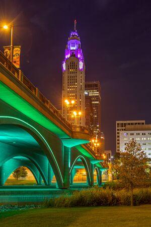 Skyscraper and Bridge at night in columbus Ohio