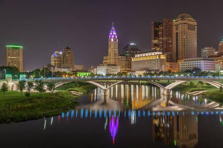 Reflections in the Scioto River in Columbus Ohio Stockfoto
