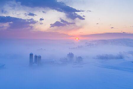 Drone View of a Winter Sunrise in Pennsylvania