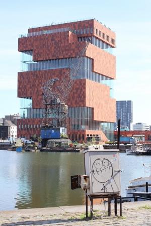 mas: MAS museum in Antwerpen and Smiley figure Stock Photo