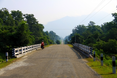 Cyclist on Tour in Nepal