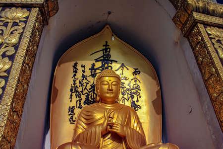 Buddha in the World Peace Pagoda in Pokhara Standard-Bild