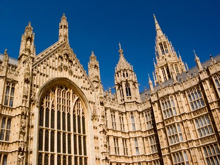 the palace of westminster: Parliament House - Palace of Westminster London West Entrance Stock Photo