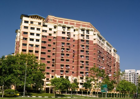 block of flats: Typical public housing in Singapore