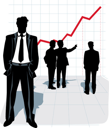 Silhouettes of businessman, standing in front and group of people talking and looking at the graphic. Vector