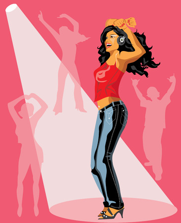 red head girl: Girl dancing in headphones in the ray of the light and silhouettes of dancing people. Illustration