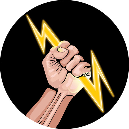 Lightning in the hand in the black circle. Power fist. Vector