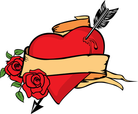 Heart impaled by arrow with two roses. Stock Vector - 5034321