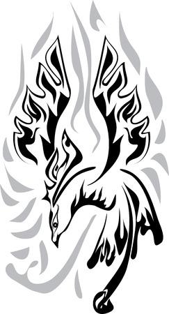 superstitious: Illustrazione vettoriale di Phoenix, in bianco e nero, graphic.
